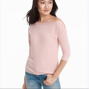 WHBM pink off shoulder ribbed knit top M